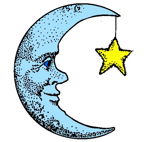 Desenho De Lua E Estrela Pintado E Colorido Por Usuario Nao