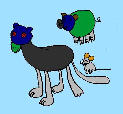 Desenho De Leoa Porco E Rato Pintado E Colorido Por Usuario Nao