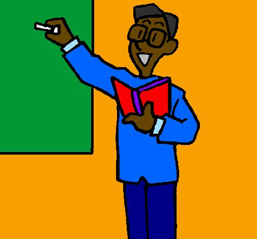 Desenho De Professor No Quadro Negro Pintado E Colorido Por