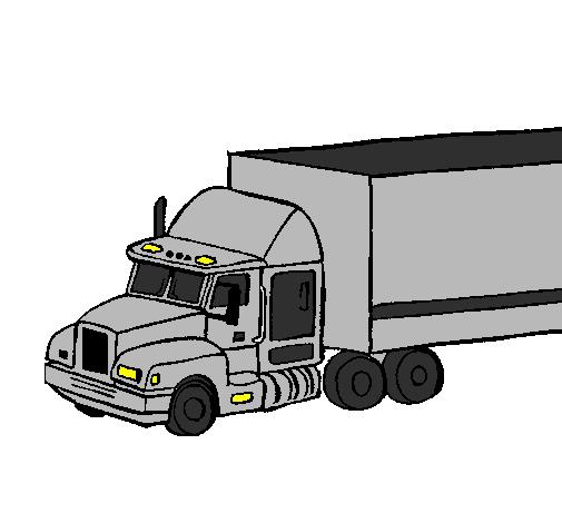 Desenho De Camiao Trailer Pintado E Colorido Por Usuario Nao