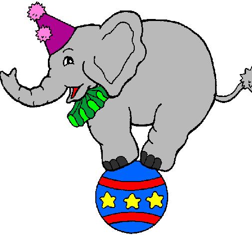Desenho De Elefante Em Cima De Uma Bola Pintado E Colorido Por