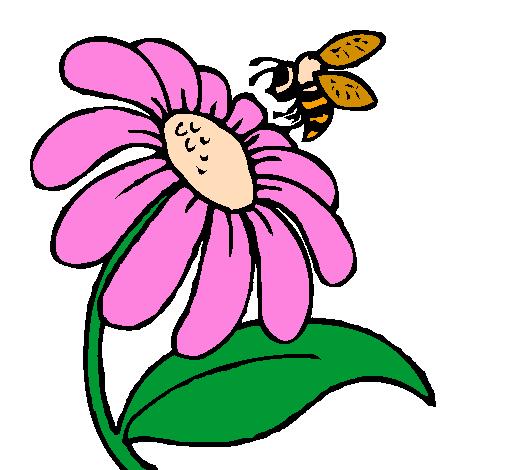 Desenho De Margarida Com Abelha Pintado E Colorido Por Usuario Nao