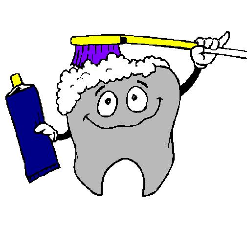 Desenho De Dentes A Serem Limpos Pintado E Colorido Por Usuario