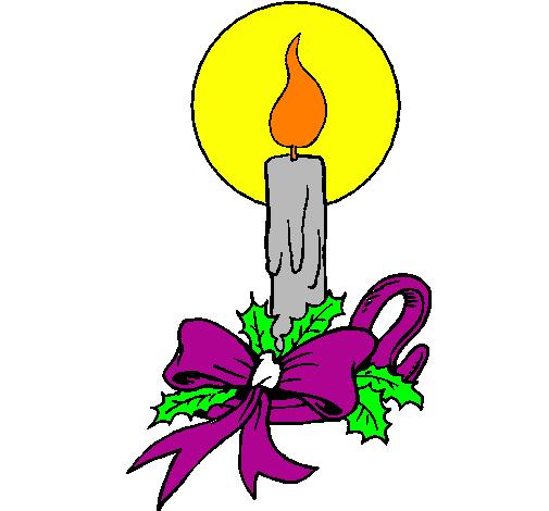 Desenho De Vela De Natal Pintado E Colorido Por Usuario Nao