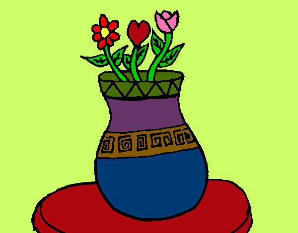 Desenho De Vaso Com Flores Pintado E Colorido Por Verlu O Dia 08