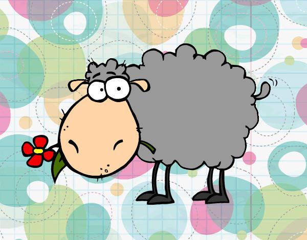 Desenho De Ovelha Com Flor Pintado E Colorido Por Giovanni O Dia