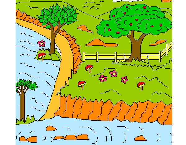 Desenho De Paisagem Rural Pintado E Colorido Por Thaiisa O Dia 19