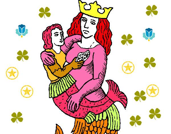 Desenho De Mae Sereia E O Filho Da Sereia Pintado E Colorido Por