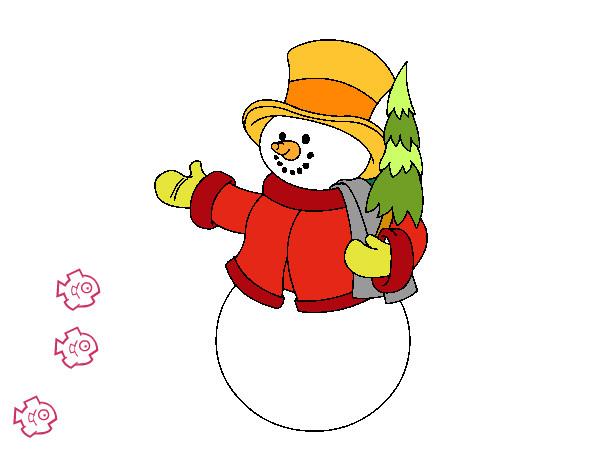 Desenho De Boneco De Neve Com Arvores Pintado E Colorido Por