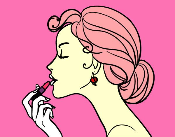 Desenho De Maquiagem Dos Labios Pintado E Colorido Por Amandinha O