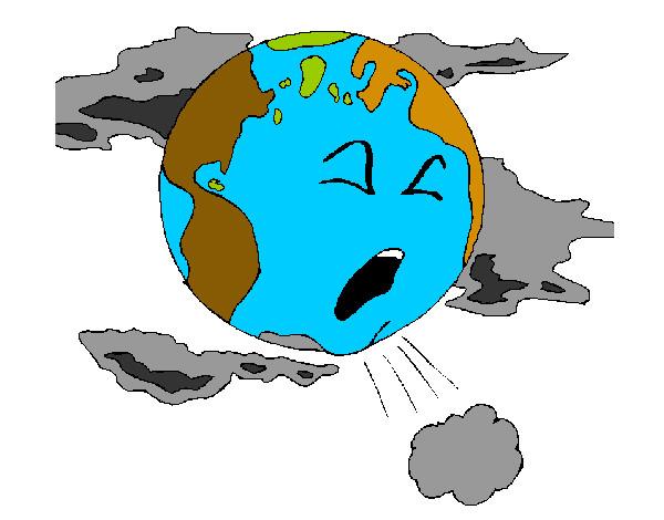 Desenho De O Planeta Esta Poluido Pintado E Colorido Por