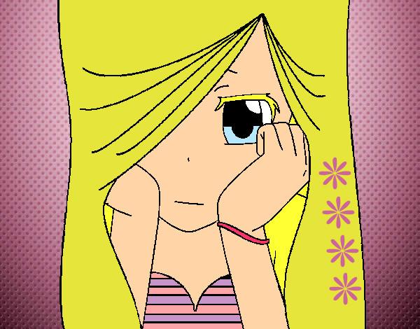 Desenho De Menina Triste Pintado E Colorido Por Looh O Dia 16 De