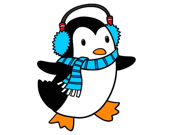 Desenho De Pinguim Com Cachecol Pintado E Colorido Por Rexy O Dia