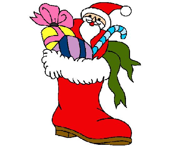 Desenho De Bota Papai Noel Pintado E Colorido Por Priscilass O Dia