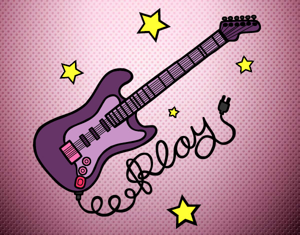 Desenho De Guitarra De Rock Pintado E Colorido Por Carlia O Dia 10