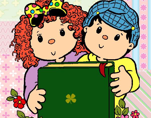 Desenho De Criancas Com Um Livro Pintado E Colorido Por Imshampoo