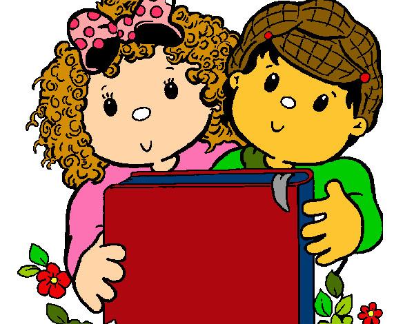 Desenho De Criancas Com Um Livro Pintado E Colorido Por Leondina O