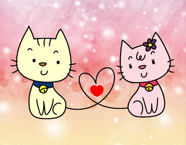 Desenho De Gatos Apaixonados Pintado E Colorido Por Imshampoo O