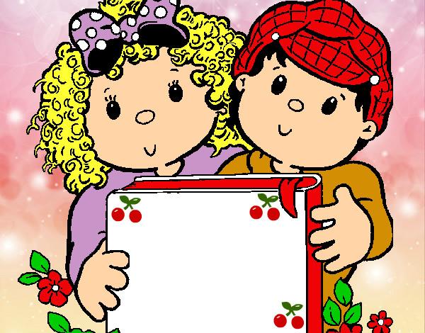 Desenho De Criancas Com Um Livro Pintado E Colorido Por Claudiaedm