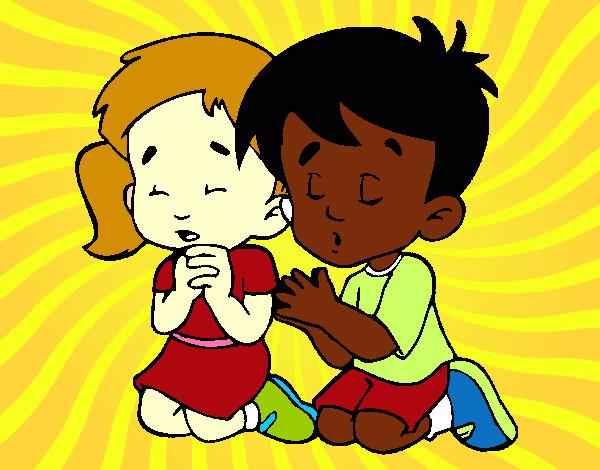 Desenho De Criancas Orando Pintado E Colorido Por Else Elise O Dia