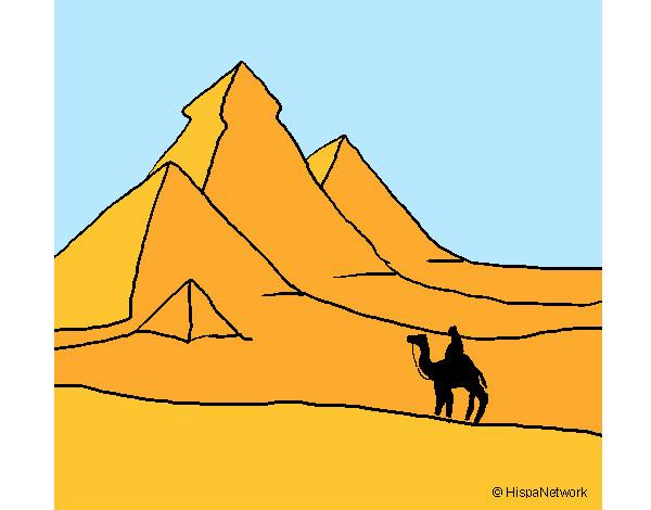 Desenho De Paisagem Com Piramides Pintado E Colorido Por Daniel12