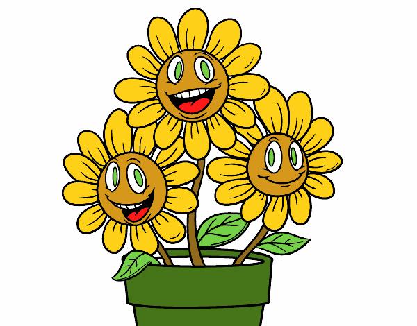 Desenho De Vaso De Flores Pintado E Colorido Por Usuario Nao