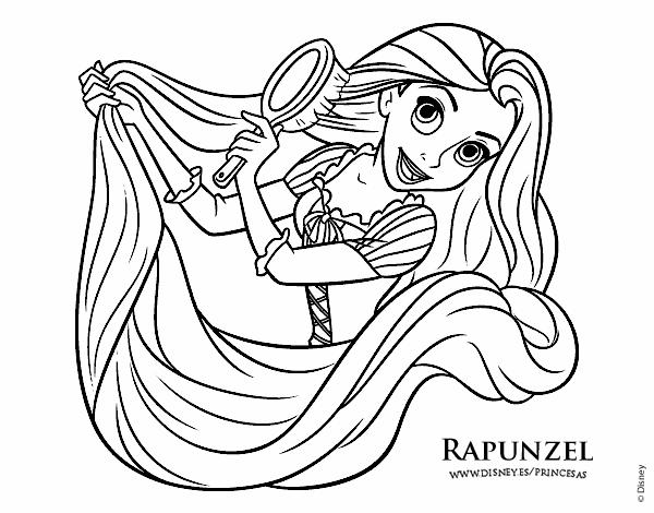 Desenho De Entrelacados Rapunzel Esta Penteando Pintado E