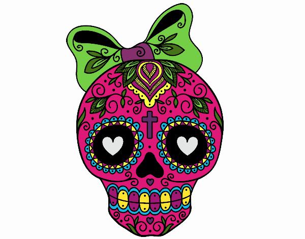Desenho De Caveira Mexicana Com Laco Pintado E Colorido Por