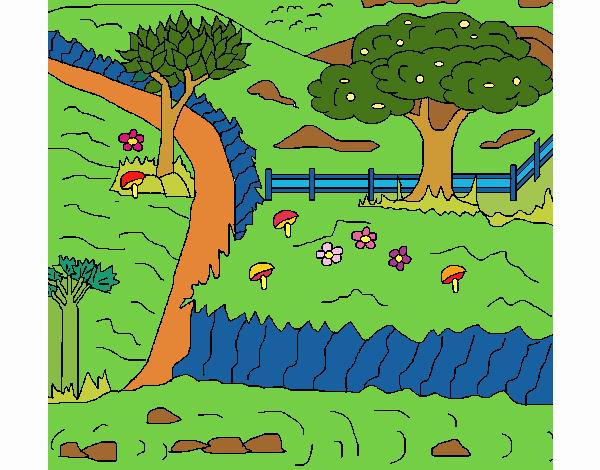 Desenho De Paisagem Rural Pintado E Colorido Por Mirna O Dia 13 De