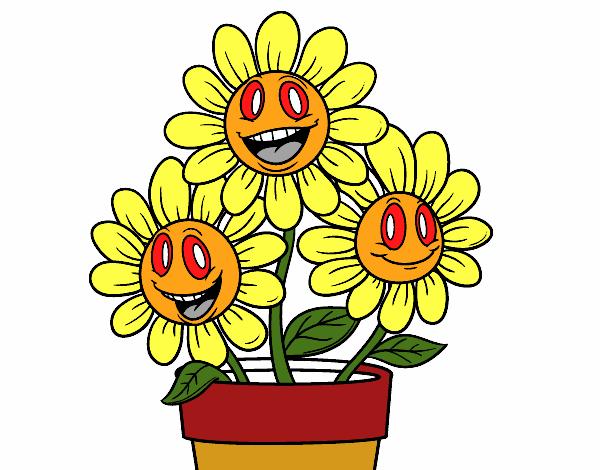 Desenho De Vaso De Flores Pintado E Colorido Por Cachor O Dia 03