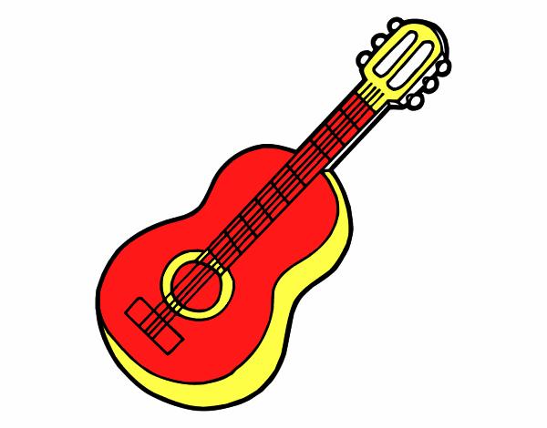 Desenho De Guitarra Classica Pintado E Colorido Por Apolo O Dia 24