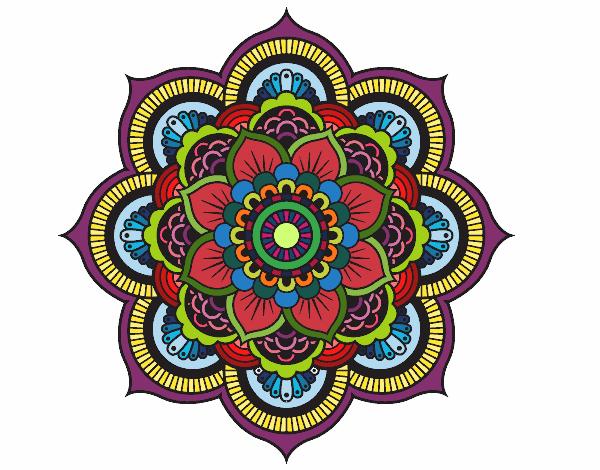 Desenho De Mandala Flor Oriental Pintado E Colorido Por Brisa O