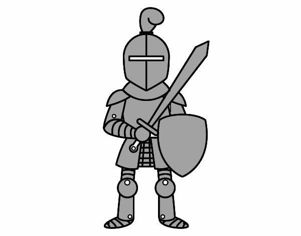 Desenho de Cavaleiro com espada e escudo pintado e colorido por ...