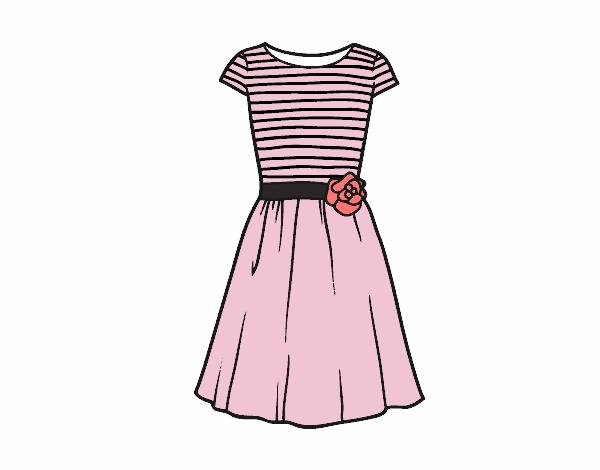 Desenho De Vestido Ocasional Pintado E Colorido Por Duda Dubs O