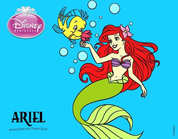 Desenho De A Pequena Sereia Ariel E Flounder Pintado E Colorido
