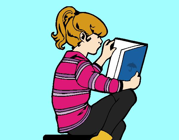 Desenho De Menina Lendo Pintado E Colorido Por Usuario Nao