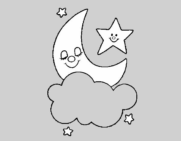 Desenho De Lua E Estrelas Pintado E Colorido Por Usuario Nao