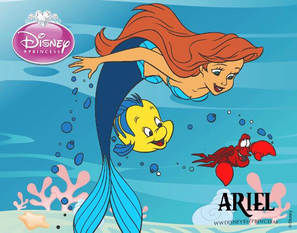 Desenho De A Pequena Sereia Ariel Flunder E Sebastiao Pintado E