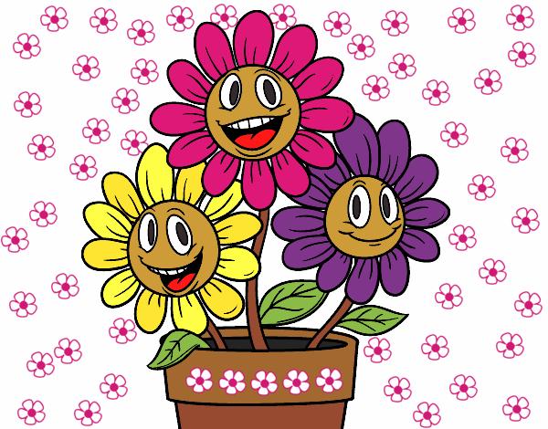 Desenho De Vaso De Flores Pintado E Colorido Por Macha O Dia 10 De