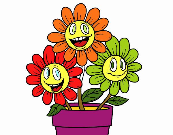 Desenho De Vaso De Flores Pintado E Colorido Por Caire O Dia 15 De