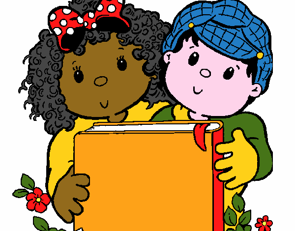 Desenho De Criancas Com Um Livro Pintado E Colorido Por Curiosa O