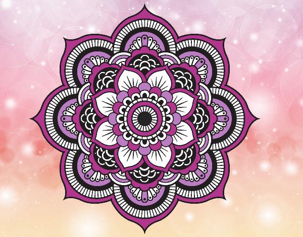 Desenho De Mandala Flor Oriental Pintado E Colorido Por Athenas O