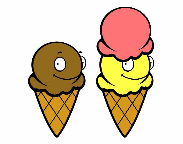 desenho de cones de gelo pintado e colorido por usuário não