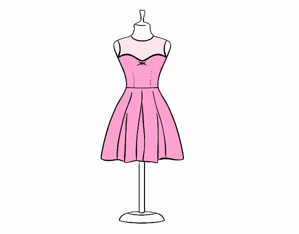 Desenho De Vestido Sem Alcas Pintado E Colorido Por Usuario Nao