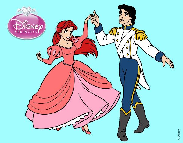 Desenho De A Pequena Sereia Ariel E Eric Pintado E Colorido Por