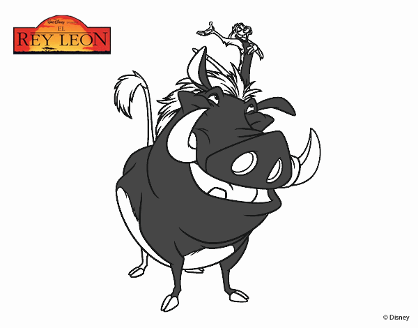Desenho De O Rei Leao Timao E Pumba Pintado E Colorido Por