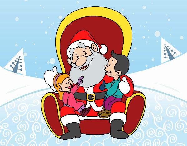 Desenho De Papai Noel Com Criancas Pintado E Colorido Por