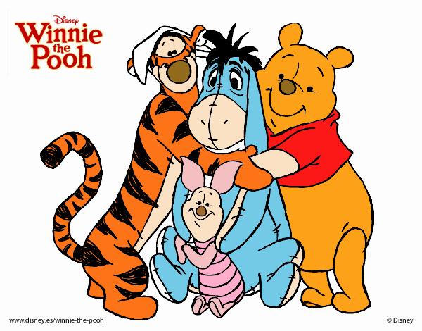 Desenho De Ursinho Pooh E Seus Amigos Pintado E Colorido Por