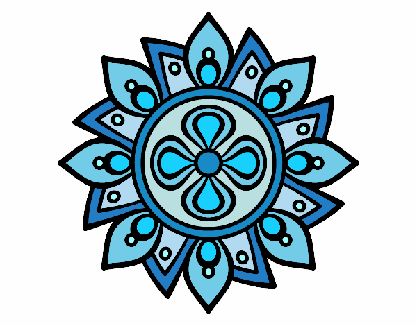 Desenho De Mandala Flor Simple Pintado E Colorido Por Janett O Dia