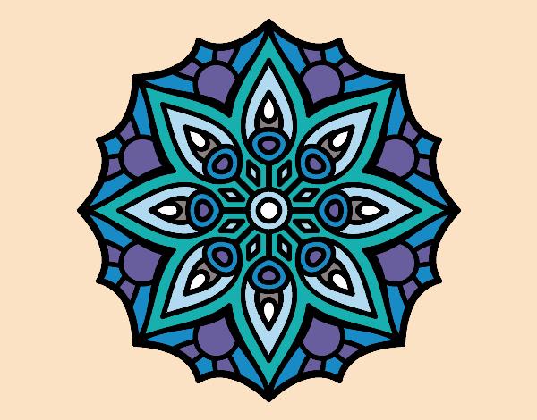 Desenho De Mandala Simetria Simples Pintado E Colorido Por Kirinha